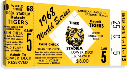 1968 Detroit Tigers World Series Tickets  Canvas Print