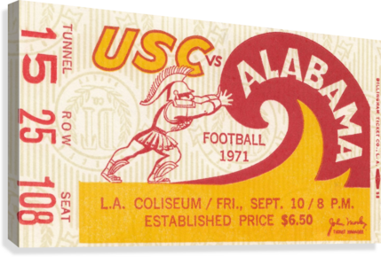 1971 alabama usc trojans football ticket stub prints on wood  Canvas Print