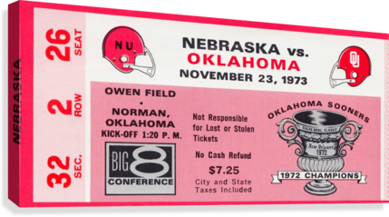 1973 oklahoma sooners nebraska cornhuskers owen field norman college football ticket art  Canvas Print
