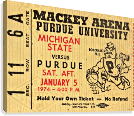 1974_College_Basketball_Michigan State vs. Purdue_Mackey Arena_Row One  Canvas Print