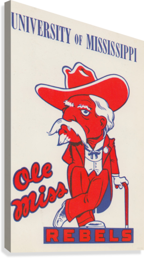 1975 College Mascot Art Reproduction University of Mississippi Ole Miss Rebels_Colonel Reb Art (1)  Canvas Print
