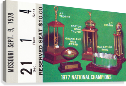 1978 NOTRE DAME FOOTBALL TICKET STUB PRINTS ROW ONE BRAND  Canvas Print