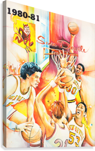1980 ARIZONA STATE UNIVERSITY ASU SUN DEVILS COLLEGE BASKETBALL POSTER ROW ONE BRAND  Canvas Print