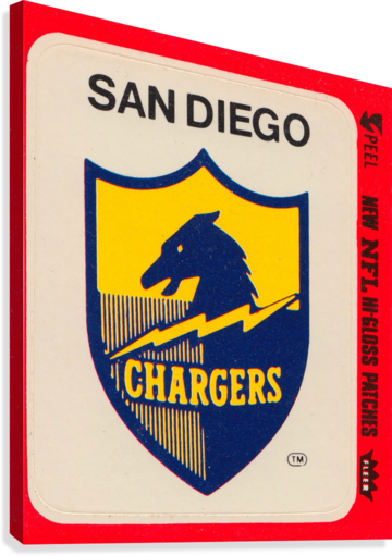 1981 fleer nfl high gloss patch san diego chargers sticker reproduction poster  Canvas Print
