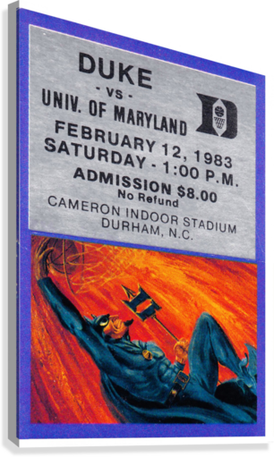 1983 duke basketball cameron indoor stadium ticket poster  Canvas Print