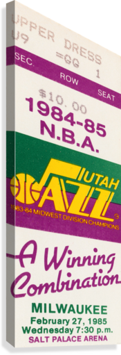 1984 utah jazz milwaukee bucks salt palace arena ticket art  Canvas Print