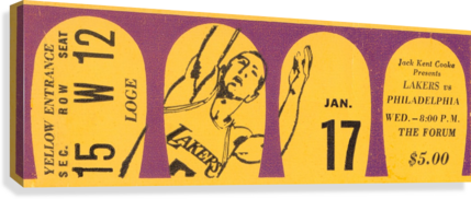 Jerry West 39 points 1968 la lakers nba basketball ticket stub art  Canvas Print