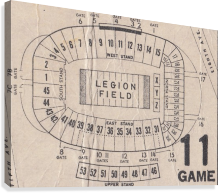 Legion Field Stadium Map Art_Vintage College Football Map Art  Canvas Print