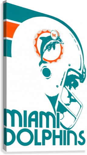National Football League_Retro Miami Dolphins 1970s Art Reproduction  Canvas Print