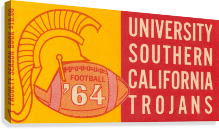 USC UNIVERSITY OF SOUTHERN CALIFORNIA TROJANS FOOTBALL ART 1964 ROW ONE BRAND  Canvas Print