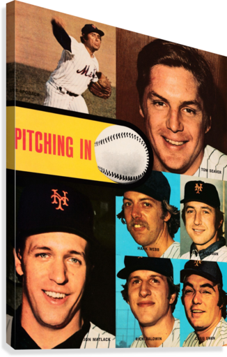 VINTAGE METS POSTER TOM SEAVER PITCHER ROW ONE BRAND  Canvas Print
