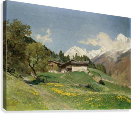 Rural house at the base of Alps  Canvas Print