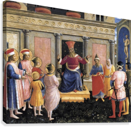 SAINT COSMAS AND SAINT DAMIAN BEFORE LISIUS FRA ANGELICO  Canvas Print