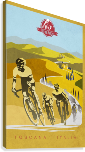 retro Strade Bianche cycling poster  Canvas Print