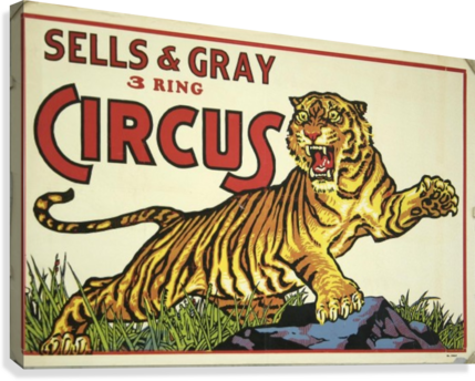 SELLS AND GREY 3 RING CIRCUS VINTAGE POSTER  Canvas Print