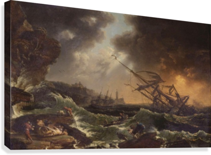 Ships Tossed On A Stormy Sea Claude Joseph Vernet Canvas