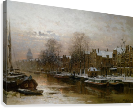 Snow covered barges  Canvas Print