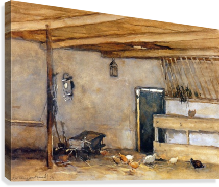 Stable with chickens  Canvas Print