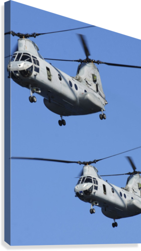 Two U.S. Marine Corps CH-46E Sea Knight helicopters in flight.  Canvas Print