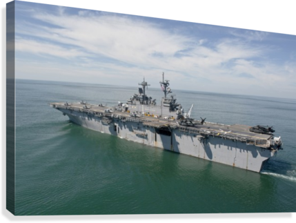 The amphibious assault ship USS Wasp transits the Atlantic Ocean.  Canvas Print
