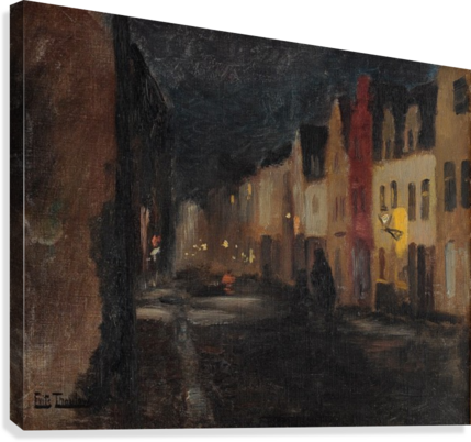 STREET IN DIEPPE, NIGHT FRITS THAULOW  Canvas Print
