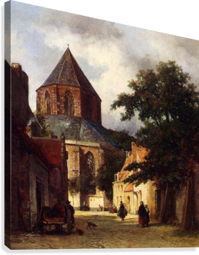 Street with Church  Canvas Print