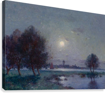 The Bank of Loire under Clear Moon  Canvas Print