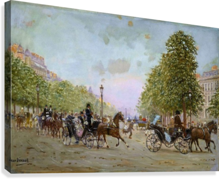The Promenade on the Champs-Elysees  Canvas Print