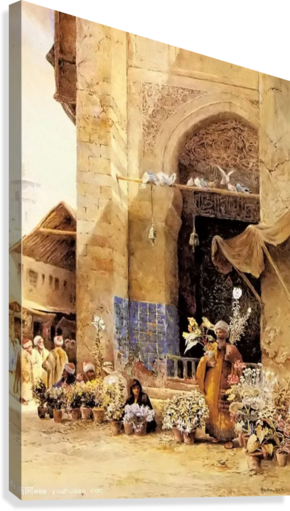 THE FLOWER MARKET, DAMASCUS CHARLES ROBERTSON  Canvas Print