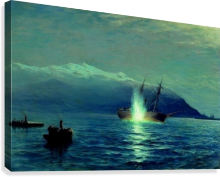 The sinking of the Turkish steamer Intibakh  Canvas Print