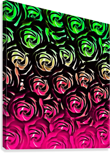 rose pattern texture abstract background in pink and green  Canvas Print