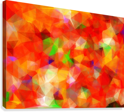 Geometric Triangle Pattern Abstract Background In Red Orange Green Timmyla Canvas Artwork
