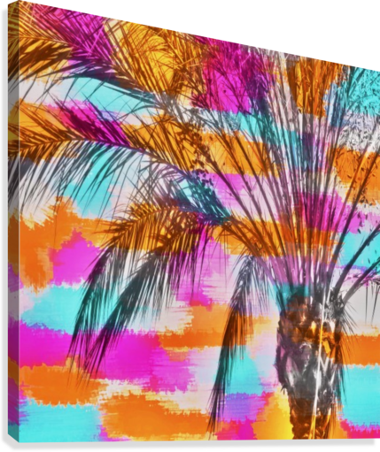 palm tree with colorful painting abstract background in pink orange blue  Canvas Print