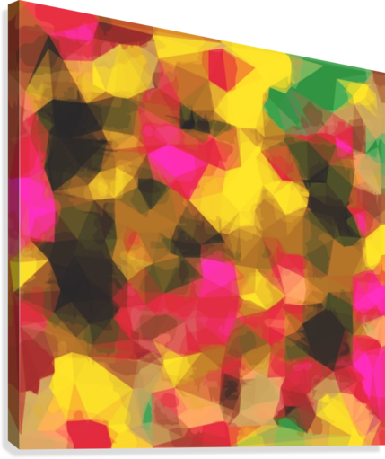 psychedelic geometric polygon shape pattern abstract in pink yellow green  Canvas Print