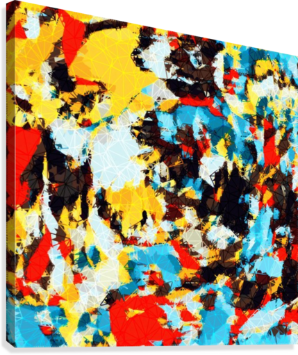 psychedelic geometric splash painting abstract pattern in yellow red blue brown  Canvas Print