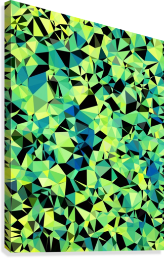 geometric triangle pattern abstract in green blue black  Canvas Print
