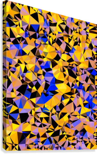 geometric triangle pattern abstract in orange blue yellow  Canvas Print