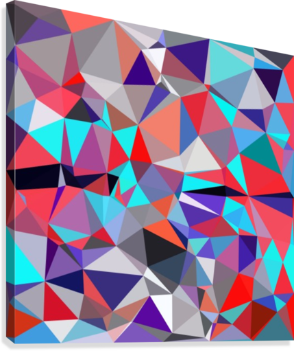 geometric triangle polygon pattern abstract background in red blue purple -  TimmyLA - Canvas Artwork
