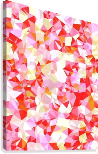 geometric triangle pattern abstract in pink red orange  Canvas Print
