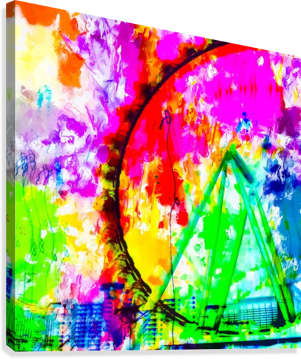 ferris wheel in the city at Las Vegas, USA with colorful painting abstract background  Canvas Print