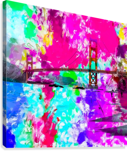 Golden Gate bridge, San Francisco, USA with pink blue green purple painting abstract background  Canvas Print