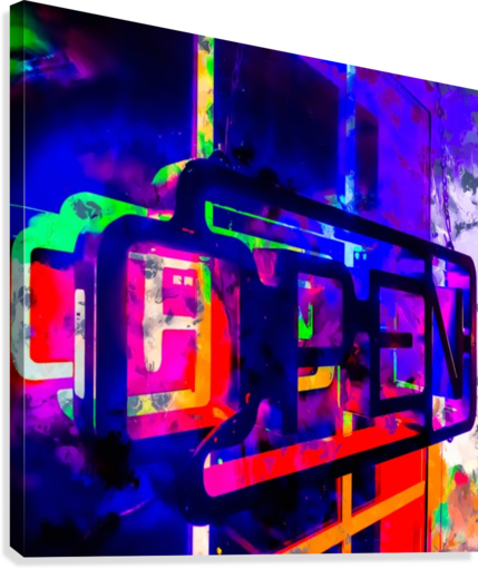 OPEN neon sign with pink purple red and blue painting abstract background  Canvas Print