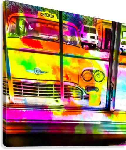 yellow classic taxi car with colorful painting abstract in pink orange green  Canvas Print