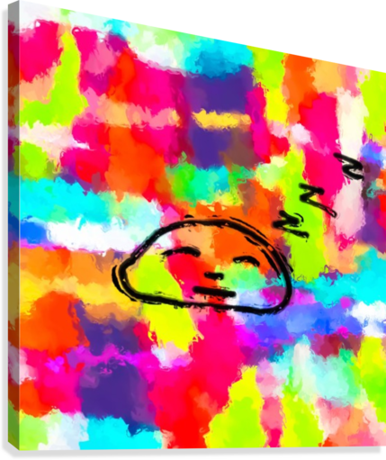 sleeping cartoon face with painting abstract background in red pink yellow blue orange  Canvas Print