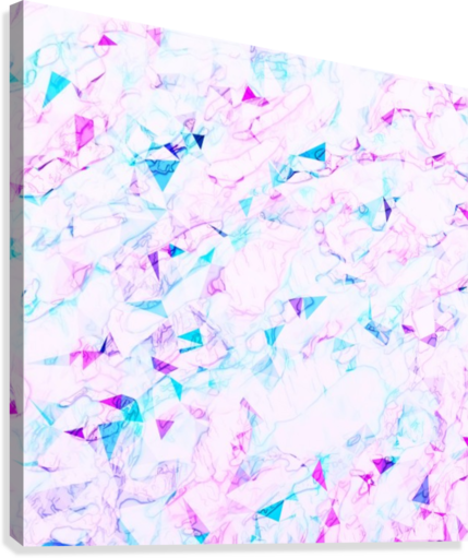 psychedelic geometric triangle polygon pattern abstract background in pink  purple blue - TimmyLA - Canvas Artwork