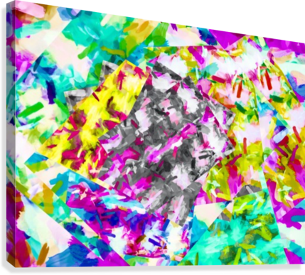psychedelic splash painting abstract in pink blue yellow green purple  Canvas Print