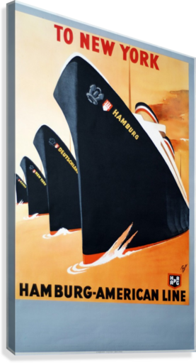 To New York Hamburg American Line travel poster  Canvas Print