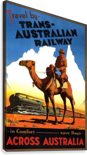 Trans Australian Railway travel poster  Canvas Print