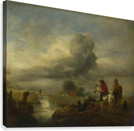 Two Vedettes on the Watch by a Stream  Canvas Print
