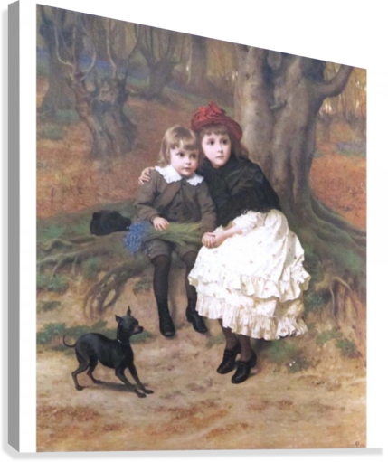 Two children and their dog  Canvas Print